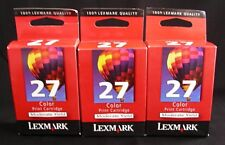 Lot Of 3 Lexmark #27 Color Print Ink Cartridges Expired Sealed
