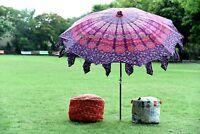 """Indian Peacock Mandala Printed Cotton Patio Sunshade Garden Umbrella Parasol 80"""""""