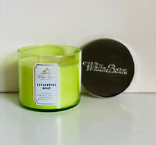 NEW! BATH & BODY WORKS WHITE BARN 3-WICK SCENTED CANDLE - EUCALYPTUS MINT