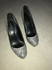 ALDO Silver Sparkly Closed Toe Platform High Heel Courts Size 5