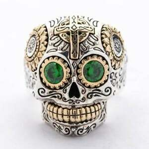 Green Emerald 2.50 Ct 10K Yellow Gold Over Skull Ring For Men's Wedding Gifts
