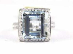 Halo 10 CT Emerald Cut Aquamarine & CZ Solitaire Wedding 925 Silver Women's Ring