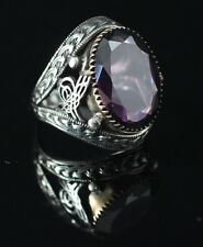 TURKISH HANDMADE AMETHYST STERLING SILVER 925K AND BRONZE MEN'S RING SİZE 11