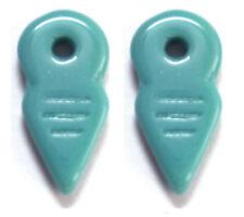 2 CZECH GLASS BERBER CHARMS / PENDANTS / AMULETS, TALHAKIMT, TURQUOISE,19 X 9 MM