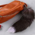 1x Genuine Silver Fox Tail Key Chain Fur Tassel Bag Tag Charm Key Ring
