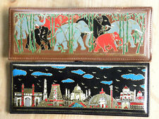 Lot of 2 Colored Leather Wall Plaques - Elephant - India Skyline  - EUC - EBXX