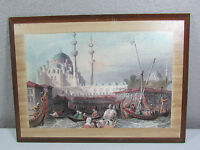 Vintage Istanbul Yeni Cami The New Mosque Wall Decor Hanging Wooden Print Art