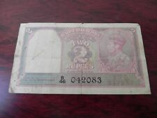 INDIA WWII 2 RUPEES NOTE SIGN DESHMUKH 1943 PICK # 17b KING GEORGE VI ISSUE CIRC