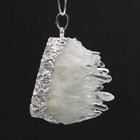 Natural Healing Clear Rock Crystal Quartz Druzy Cluster Gemstone Pendant Jewelry