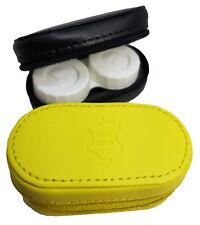 Leather Mirror Case Contact Lens Soaking Storage Case UK MADE - Yellow