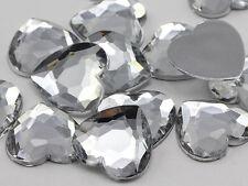 18mm Crystal Clear H102 Flat Back Heart Acrylic Gems - 30 Pieces