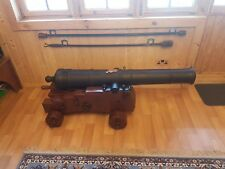 Replica 18th C. Full Size 3 Pounder Naval Cannon. Cast Iron on Oak carriage