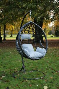 Swing Hanging Egg Chair Black with Cushion Patio Garden Outdoor PE Rattan