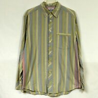 Robert Graham R&G Men's Long Sleeve Dress Shirt Size L Large Contrast Cuff