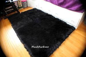 5'x7' black rectangle rug premium faux fur rug flokati bearskin rug carpet f1