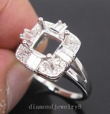 Princess 6.0mm Solid 14Kt White Gold Natural Diamond Semi Mount Engagement Ring