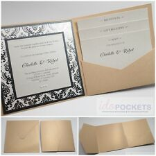 CHAMPAGNE GOLD SQUARE WEDDING INVITATION ENVELOPES DIY POCKET FOLD 150MM 6 x 6