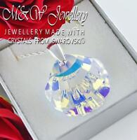 925 Sterling Silver Necklace - 28mm SHELL Crystal AB - Crystals From Swarovski®