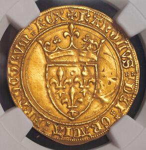 "1422, Royal France, Charles VI ""the Mad"". Gold Ecu Coin. (3.92gm!) NGC AU-58!"