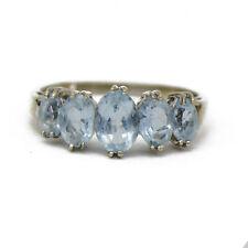 10k White Gold Graduated Aquamarine Ring
