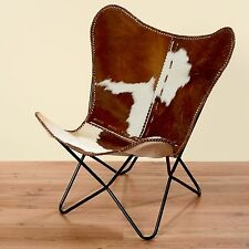 Chair Kayden Brown White Cowskin Fur Leather Club Lounge Armchair