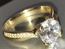 14k solid real Yellow Gold ring Round Manmad Diamond Engagement 7 6 8 9