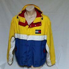 VTG Tommy Hilfiger Sailing Jacket 90s Colorblock Coat Flag Ski Hood Lotus Large