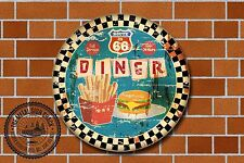 Route 66 Diner Metal Sign, Cars, American, Gas, Classic, Garage Decor, 970