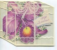 VINTAGE PURPLE ORCHID DIE CUT GARDEN FLOWERS LITHOGRAPH GREETING CARD ART RRINT