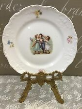 """Antique Child's Plate 6-1/8"""" Children With Flowers Colorful Victorian Scene"""