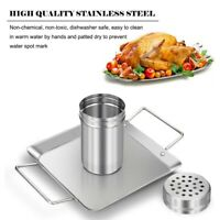 Beer Can Chicken Holder Stainless Steel Roaster Rack  Includes Metal Canister