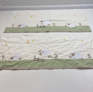 Pottery Barn Kids Baby Nursery Farm Sheep Valances Curtains Embroidered Lot of 2