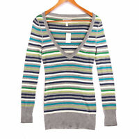 Aeropostale Women's Multicolor Striped Deep V-Neck Sweater NWT - Size Medium