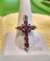 "925 Sterling Silver Rhodium Overlay Faux Garnet Cross Pendant  My ""GG"""