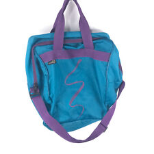 "RETRO 90s Athalon Teal and Purple Ski Boot Bag Vintage 1990s 9""x13""x16"" bbx3"