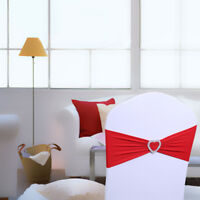 HN- EP_ 10Pcs Spandex Heart Chair Cover Sashes Bow Band for Wedding Banquet Deco