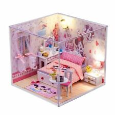 New Kits Wood Dollhouse Miniature DIY House Room w/Furniture+Cover Minnie Mouse