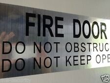 2pcs Fire Safety Door Sign sticker Do Not Obstruct Do Not Keep Open Silver