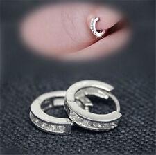 Hoop Earrings Hot Sale Women Silver Plated CZ Small Round HUGGIE Ear Stud