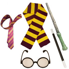 WIZARD COSTUME SET BOOK WEEK CHARACTER FANCY DRESS ACCESSORY SET GLASSES WAND