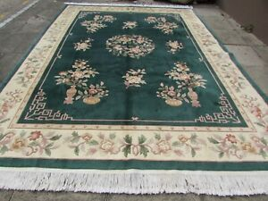 Vintage Hand Made Art Deco Chinese Oriental Green Wool Large Carpet 370x275cm