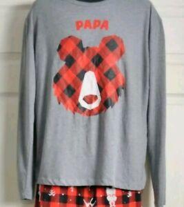 Christmas Family Pajamas Mens Papa Bear LS Shirt Red Buffalo Plaid Sz Large $29