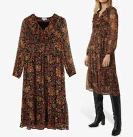 WAREHOUSE Winter Bloom Shimmer A-Line Midi Dress in Multi Brown Sizes 8-10-12-14