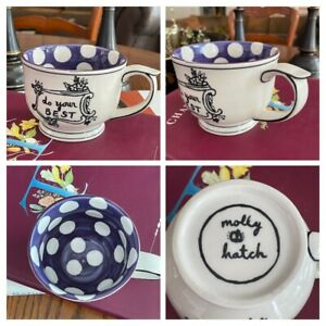 """Molly Hatch Anthropologie Polka Dot Coffee Mug """"Do Your Best"""" Cup"""