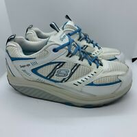 Sketchers Shape-Ups Womens Size 10 Walking Shoes Toning White Blue SN 11817