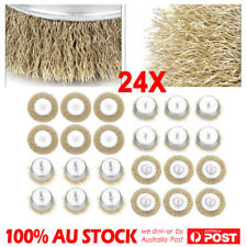 """24x 50/75/100mm Steel Wire Brush Wheel Cup Flat for Rotary Tool 6mm 1/4"""" Shank"""