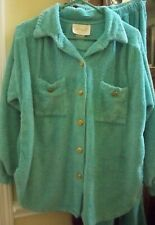 Vtg Leisure Life Turquoise Chenille Pajamas Pants Shirt Gold Buttons Knit Cuffs