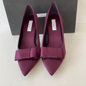 New Women's John Lewis UK 4 Lisa Purple Satin Front Bow Court Shoes.