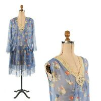 Vintage 20s Sheer Blue Crepe Chiffon Art Deco Floral Novelty Print Jacket Dress