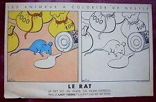 """NESTLE """" Lait Idéal """" Publicité Animal à COLORIER Le RAT ( avec fiche au verso )"""